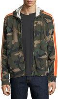 Valentino Camu Stripe-Sleeve Fleece Zip-Front Hoodie