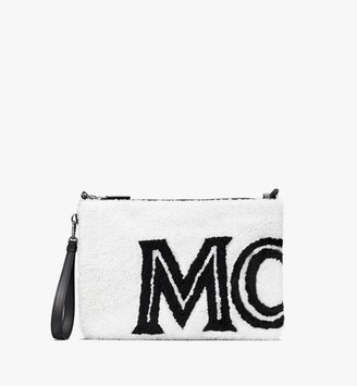 MCM Crossbody Pouch in Contrast Logo Shearling