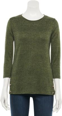 Croft & Barrow Women's Side Button Snit Top