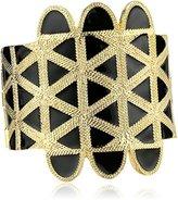 Kenneth Jay Lane Gold and Black Enamel Cuff Bracelet