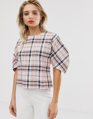 Asos check puff sleeve top