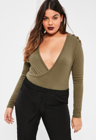 Missguided Plus Size Exclusive Khaki Ribbed Wrap Front Bodysuit