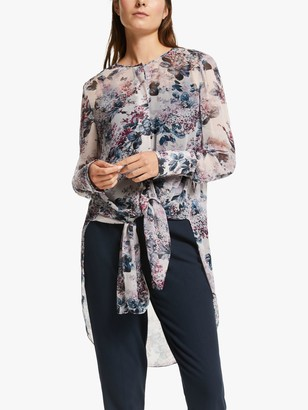 Modern Rarity Winter Blossom Archive Print Tie Front Tunic Top, Pink/Multi