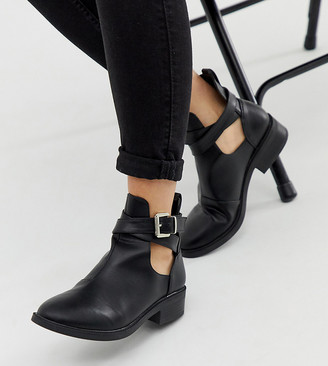 Raid Wide Fit Madison cut out flat ankle boots