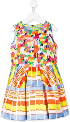 Mi Mi Sol Appliqued Striped Satin Dress