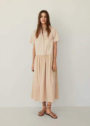 MANGO Cotton shirt dress beige - 8 - Women