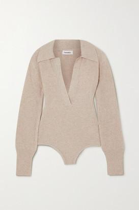 Nanushka Azha Ribbed-knit Bodysuit - Beige