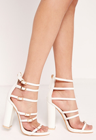 Missguided Block heel buckled sandal White