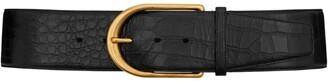 Saint Laurent Leather Croc-Embossed Belt