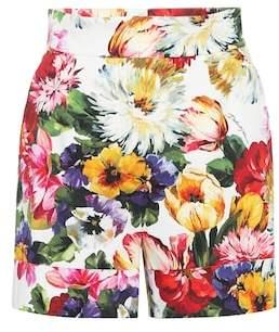 Floral stretch cotton shorts