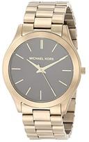 Michael Kors Slim Runway Three-Hand Stainless Steel Watch (Antique Gold) Watches