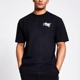 River Island Mens Black printed short sleeve boxy T-shirt