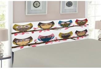 East Urban Home Owls Queen Upholstered Panel Headboard Size: Queen