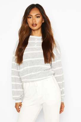 boohoo Brushed Ribbed Jersey Stripe Long Sleeve Top