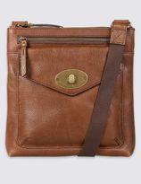 Marks and Spencer Leather Turn-Lock Messenger Bag