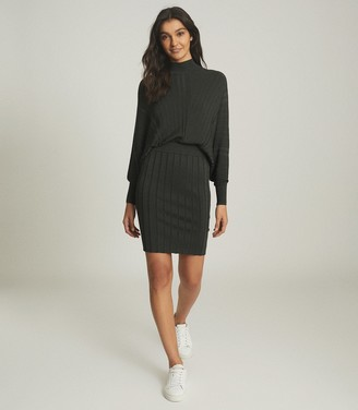 Reiss HARRY BATWING KNITTED DRESS Khaki