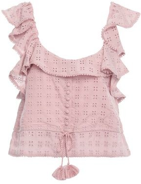 Love Sam Cropped Ruffle-trimmed Broderie Anglaise Top