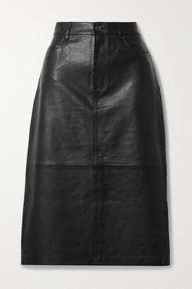 Frame Leather Midi Skirt - Black