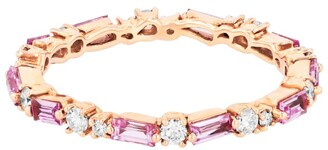 Suzanne Kalan Rose Gold, Diamond and Sapphire Fireworks Eternity Ring (Size 6.5)