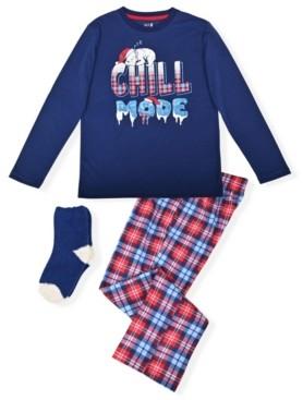 Max & Olivia Big Boy's 2 Piece Chill Mode Pajama Set with Socks
