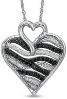 Zales 1/4 CT. T.W. Enhanced Black and White Diamond Zebra Heart Pendant in Sterling Silver
