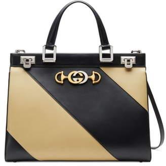Gucci MediumDiagonal Stripe Top Handle Leather Bag