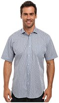 Thomas Dean Men's Sprd Cllr Dobby Print Short Sleeve