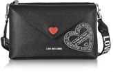 Love Moschino Pocket Love Black Eco Leather Shoulder Bag