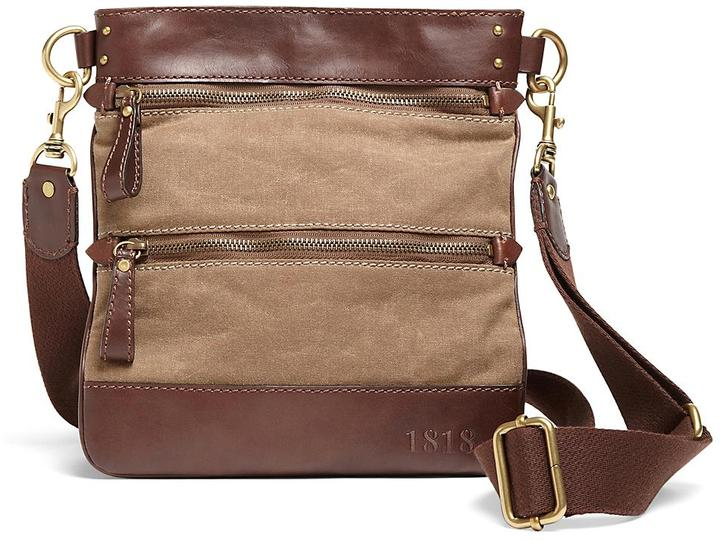 Brooks Brothers Waxed Cotton Canvas Crossbody Bag