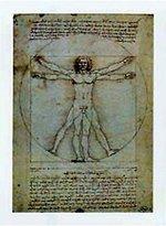 Leonardo 1art1 Posters Da Vinci Poster Art Print - Vitruvian Man IV (32 x 24 inches)