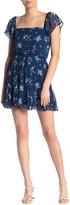 Rowa Row A Floral Flutter Sleeve Godet Mini Dress