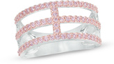 Zales Lab-Created Pink Sapphire Split Triple Row Band in Sterling Silver and 18K Rose Gold Plate