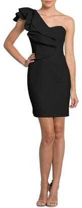 B by Bariano London Ruffle One Shoulder Mini Dress