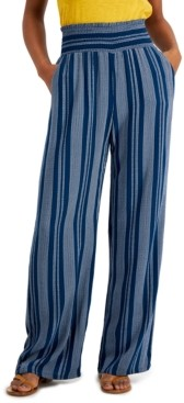 BeBop Juniors' Striped Smocked Wide-Leg Pants
