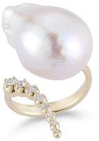 Mizuki 14K Curved Diamond & Pearl Ring