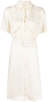 Victoria Victoria Beckham Silk Belted Shirt Dress