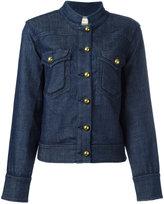 Tory Burch band collar denim jacket - women - Cotton/Spandex/Elastane/other fibers - M