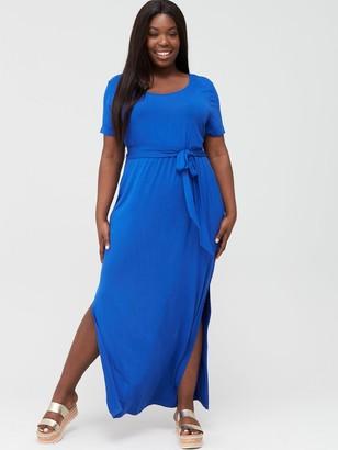 V By Very Curve Maxi T-Shirt Dress - Electric Blue