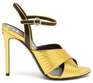 Gucci Betsy Crossover Metallic-leather Sandals - Gold