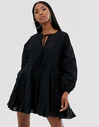 Asos Design DESIGN trapeze mini dress with godets in broderie-Black