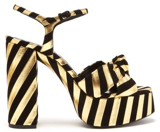 Saint Laurent Bianca Striped Leather And Suede Platform Sandals - Black Gold