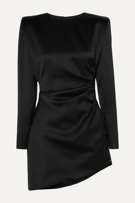 Saint Laurent Asymmetric Gathered Silk-satin Mini Dress - Black