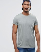 Asos T-Shirt With Roll Sleeve In Green Marl