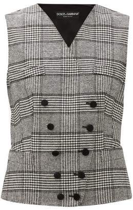 Dolce & Gabbana Double-breasted Prince Of Wales-checked Waistcoat - Womens - Grey Multi