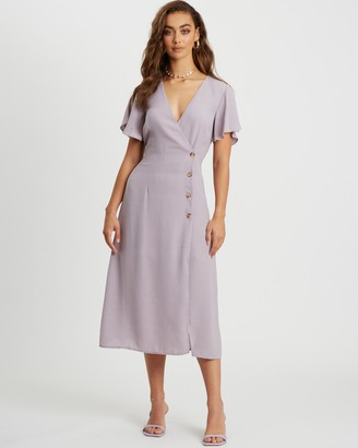Savel - Women's Purple Midi Dresses - Analia Dress - Size 6 at The Iconic