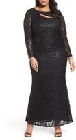 Marina Plus Size Women's Sequin Lace Keyhole Gown