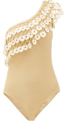 My Beachy Side - Firtekom/alp Crochet-trim One-shoulder Swimsuit - Gold