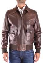 Trussardi Men's Brown Leather Outerwear Jacket.
