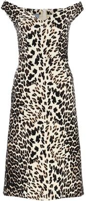 Prada Off-Shoulder Leopard Printed Dress