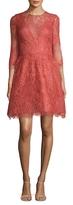Monique Lhuillier Lace Illusion Flared Dress